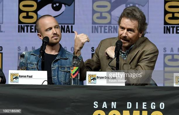 Aaron Paul and Bryan Cranston speak onstage during the Breaking Bad 10th Anniversary Celebration during ComicCon International 2018 at San Diego...