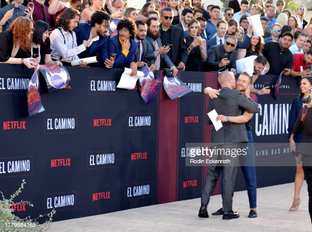 Aaron Paul and Derek Hough attend the Premiere of Netflix's 'El Camino A Breaking Bad Movie' at Regency Village Theatre on October 07 2019 in...