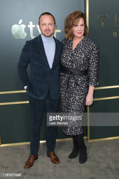 Aaron Paul and Elizabeth Perkins attend Premiere Of Apple TV's Truth Be Told at AMPAS Samuel Goldwyn Theater on November 11 2019 in Beverly Hills...