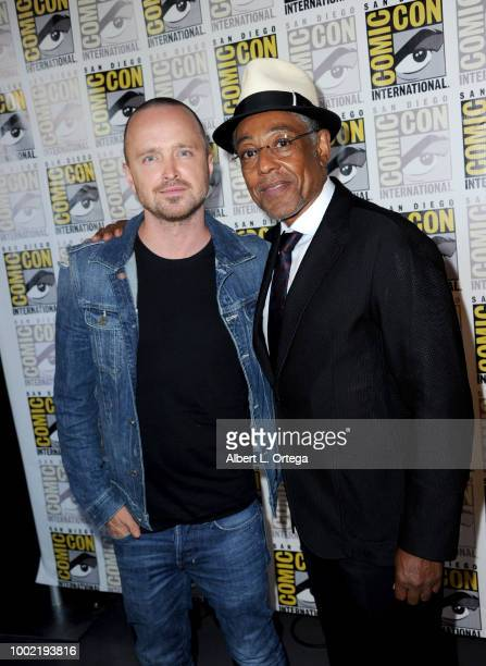 Aaron Paul and Giancarlo Esposito pose during the 'Breaking Bad' 10th Anniversary Celebration during ComicCon International 2018 at San Diego...