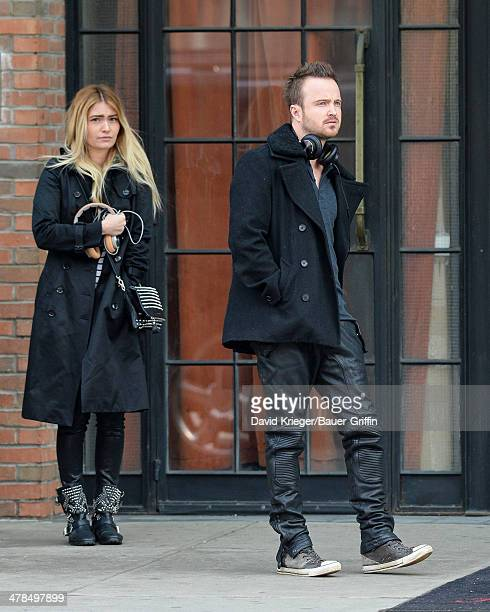 Aaron Paul and his wife Lauren Parsekian are seen on March 13 2014 in New York City