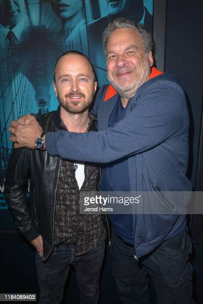 Aaron Paul and Jeff Garland arrive at Premiere Of Warner Bros Pictures' 'Motherless Brooklyn' on October 28 2019 in Los Angeles California