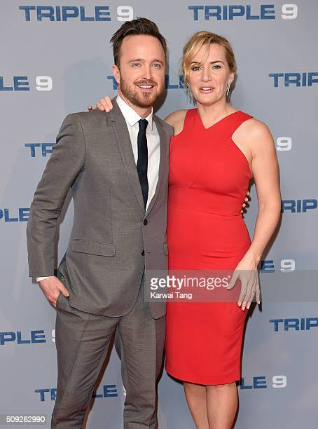 Aaron Paul and Kate Winslet attend the Special Screening of 'Triple 9' at Ham Yard Hotel on February 9 2016 in London England