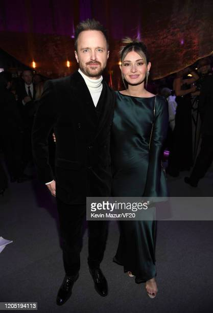 Aaron Paul and Lauren Parsekian attend the 2020 Vanity Fair Oscar Party hosted by Radhika Jones at Wallis Annenberg Center for the Performing Arts on...