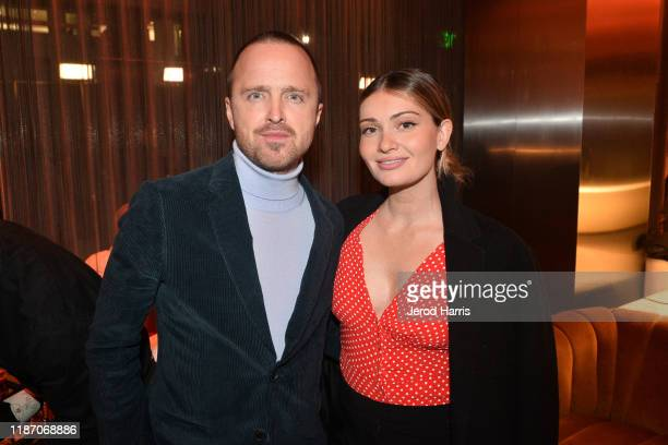 Aaron Paul and Lauren Parsekian attend the after party of Apple TV's 'Truth Be Told' on November 11 2019 in Beverly Hills California