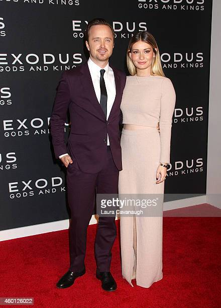 Aaron Paul and Lauren Parsekian attend the Exodus Gods And Kings New York Premiere at Brooklyn Museum on December 7 2014 in New York City