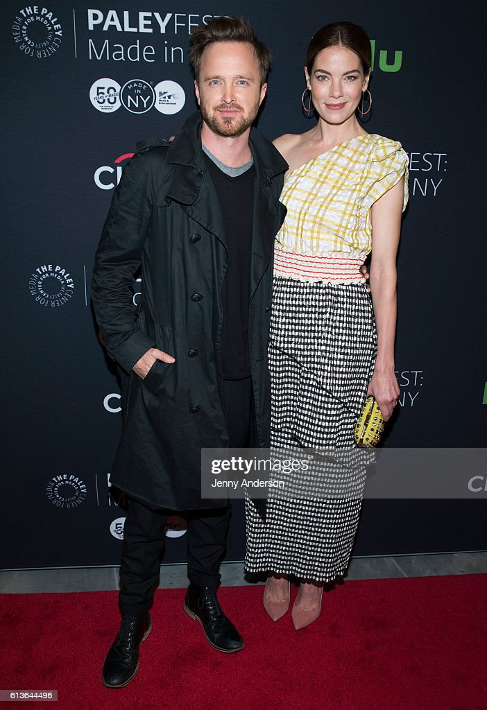 Aaron Paul and Michelle Monaghan attend PaleyFest New York 2016 to dicuss their TV show 'The Path' at The Paley Center for Media on October 9, 2016 in New York City.