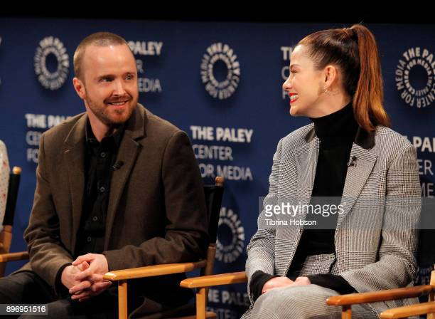 Aaron Paul and Michelle Monaghan attend the Paley Center for Media's presentation of Hulu's 'The Path' Season 3 premiere QA at The Paley Center for...