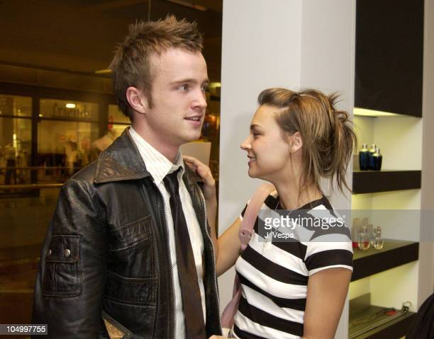 Aaron Paul and Samaire Armstrong during Movieline Hugo Boss Party at Hugo Boss Store South Coast Plaza in Costa Mesa, California, United States.