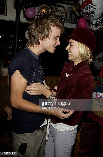 Aaron Paul and Samaire Armstrong during Surprise Birthday Party for Aaron Paul at Dimples in Burbank California United States