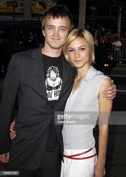 Aaron Paul and Samaire Armstrong during Windtalkers Premiere at Grauman's Chinese Theatre in Hollywood California United States
