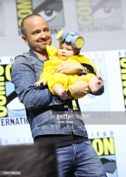 Aaron Paul and Story Annabelle Paul attend the Breaking Bad 10th Anniversary Celebration with AMC during ComicCon International 2018 at San Diego...