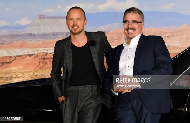 Aaron Paul and Vince Gilligan attend the premiere of Netflix's El Camino A Breaking Bad Movie at Regency Village Theatre on October 07 2019 in...