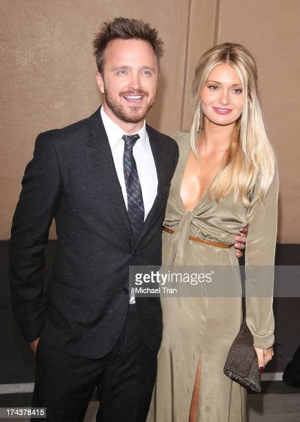 Aaron Paul and wife Lauren Parsekian arrive at AMC's 'Breaking Bad' special premiere event held at Sony Pictures Studios on July 24 2013 in Culver...