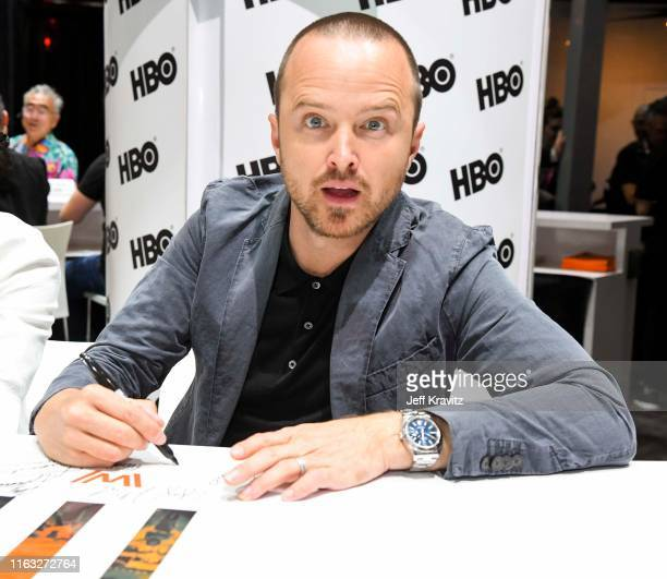 """Aaron Paul at """"Westworld"""" Comic Con Autograph Signing 2019 on July 20, 2019 in San Diego, California."""