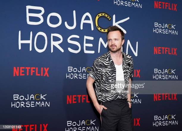 """Aaron Paul attends the premiere of Netflix's """"Bojack Horseman"""" Season 6 at the Egyptian Theatre on January 30, 2020 in Hollywood, California."""