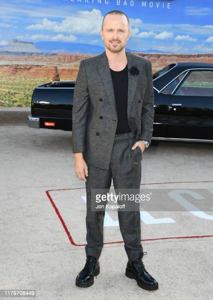 Aaron Paul attends the premiere of Netflix's El Camino A Breaking Bad Movie at Regency Village Theatre on October 07 2019 in Westwood California