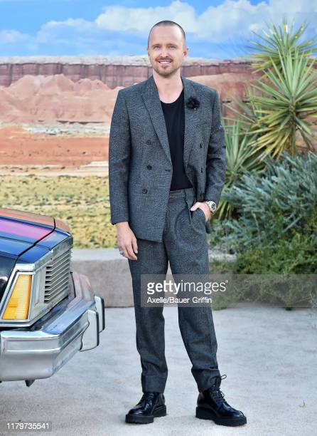 """Aaron Paul attends the Premiere of Netflix's """"El Camino: A Breaking Bad Movie"""" at Regency Village Theatre on October 07, 2019 in Westwood, California."""