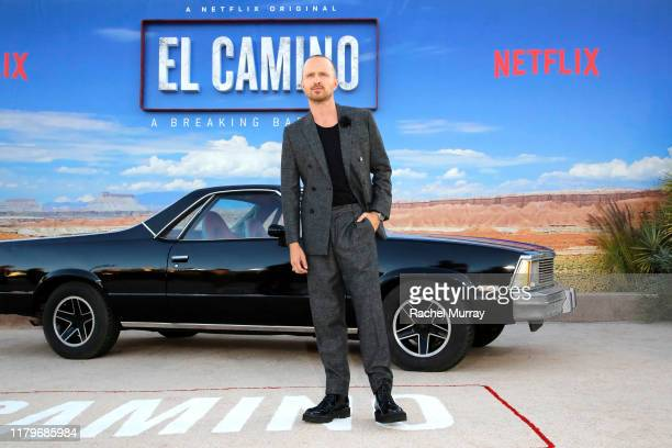 Aaron Paul attends the World Premiere of El Camino A Breaking Bad Movie at the Regency Village on October 07 2019 in Los Angeles California