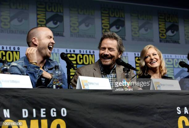 Aaron Paul Bryan Cranston and Anna Gunn speak onstage during the 'Breaking Bad' 10th Anniversary Celebration during ComicCon International 2018 at...