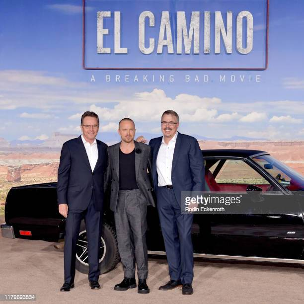 Aaron Paul Bryan Cranston and Vince Gilligan attend the Premiere of Netflix's 'El Camino A Breaking Bad Movie' at Regency Village Theatre on October...