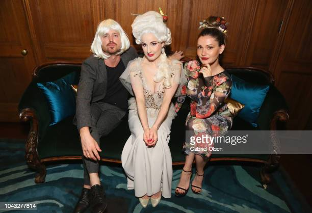 Aaron Paul Dita Von Teese and Lauren Parsekian attend the birthday celebration of Dita Von Teese at the private residence of Jonas Tahlin CEO Of...