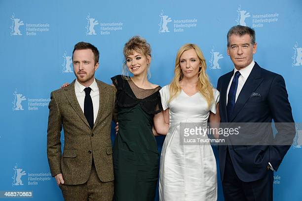 Aaron Paul Imogen Poots Toni Collette and Pierce Brosnan attend the 'A long way down' photocall during 64th Berlinale International Film Festival at...