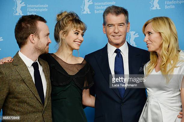Aaron Paul, Imogen Poots, Toni Collette and Pierce Brosnan attend the 'A long way down' photocall during 64th Berlinale International Film Festival...