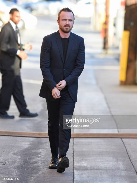 Aaron Paul is seen arriving at 'Jimmy Kimmel Live' on January 23 2018 in Los Angeles California