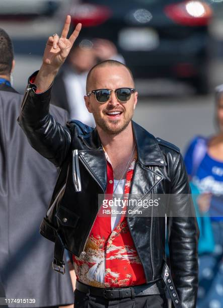 Aaron Paul is seen at 'Jimmy Kimmel Live' on October 09, 2019 in Los Angeles, California.
