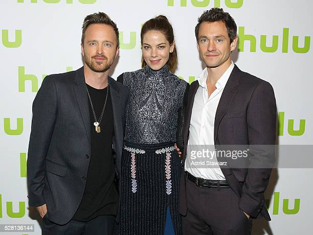 Aaron Paul Michelle Monaghan and Hugh Dancy attend the 2016 Hulu Upftont on May 04 2016 in New York New York