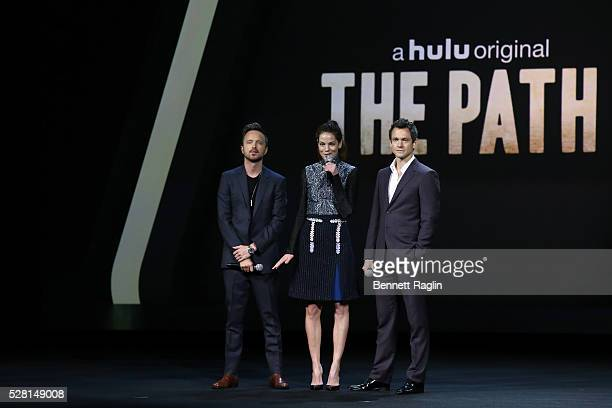 Aaron Paul Michelle Monaghan and Hugh Dancy of The Path speak onstage at the 2016 Hulu Upftont on May 04 2016 in New York New York