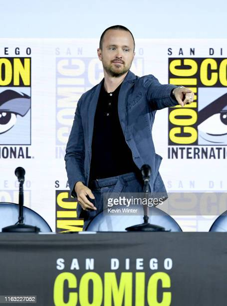 """Aaron Paul speaks at the """"Westworld III"""" Panel during 2019 Comic-Con International at San Diego Convention Center on July 20, 2019 in San Diego,..."""