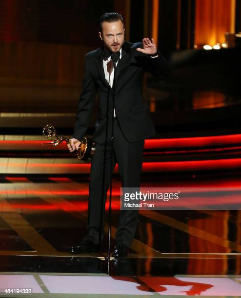 Aaron Paul speaks onstage during the 66th Annual Primetime Emmy Awards held at Nokia Theatre LA Live on August 25 2014 in Los Angeles California