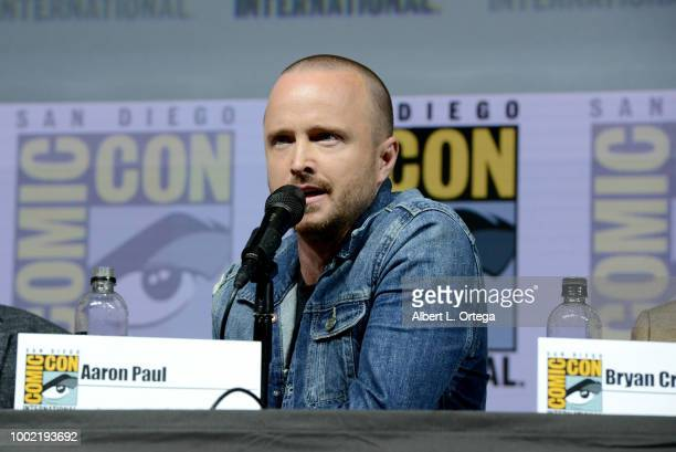 Aaron Paul speaks onstage during the 'Breaking Bad' 10th Anniversary Celebration during ComicCon International 2018 at San Diego Convention Center on...