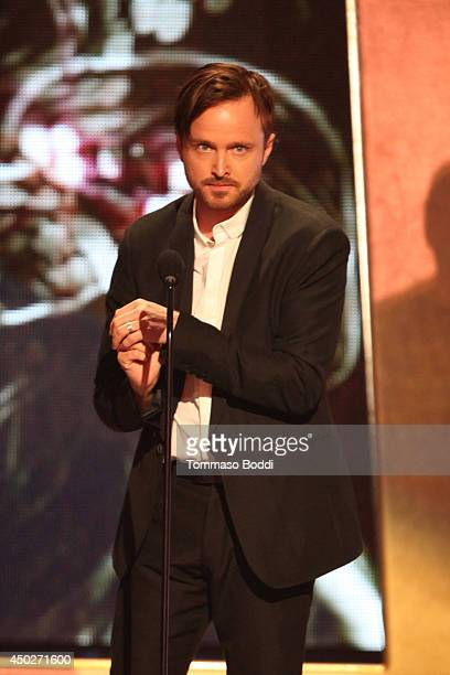 Aaron Paul speaks onstage during the Spike TV's 'Guys Choice' Awards held at the Sony Studios on June 7 2014 in Los Angeles California