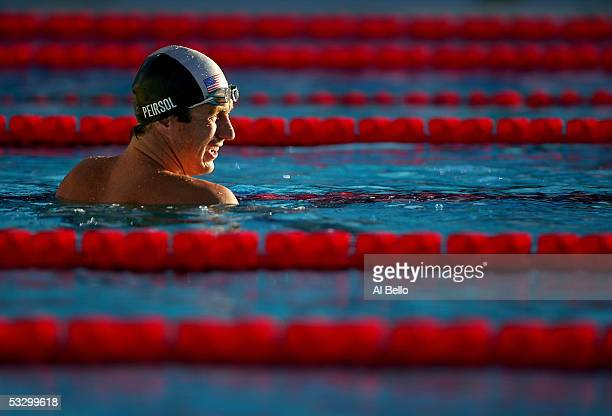 Aaron Peirsol of the United States smiles after winning his semifinal heat of the 200 meter Backstroke during the XI FINA World Championships at the...