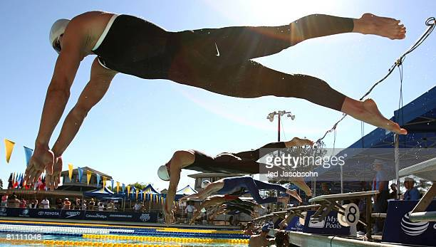 Aaron Peirsol of the USA starts the 200m freestyle at a preliminary round during the Santa Clara XLI International Swim Meet part of the 2008 USA...