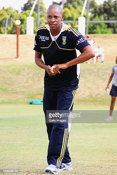 Aaron Phangiso attends the South African national cricket team nets session and press conference at Claremont Cricket Club on January 17 2013 in Cape...