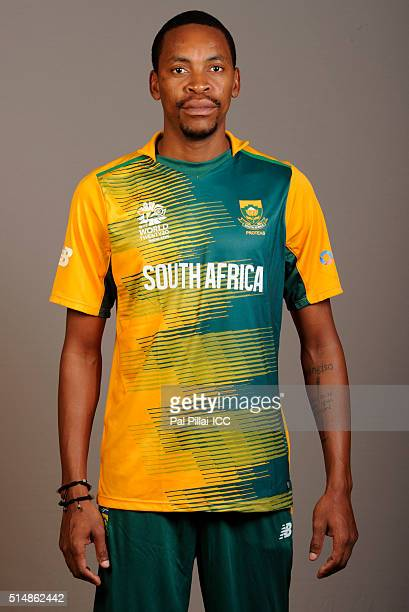 Aaron Phangiso of South Africa poses during the official photocall for the ICC Twenty20 World on March 11 2016 in Mumbai India