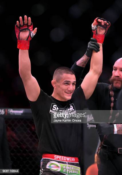 Aaron Pico celebrates after he defeated Shane Kruchten by knockout in the first round of their Featherweight fight at Bellator 192 at The Forum on...