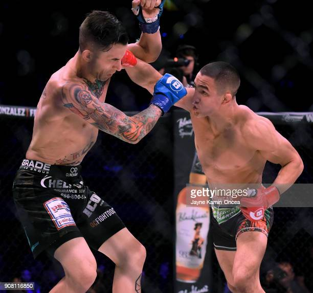 Aaron Pico defeated Shane Kruchten by knockout in the first round of their during their Featherweight fight at Bellator 192 at The Forum on January...