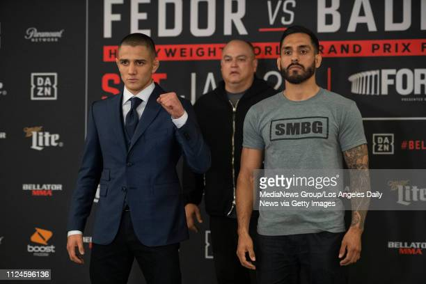 Aaron Pico left Bellator President Scott Coker and Henry Corrales during Bellator 214 Media Day at the Westin Los Angeles Airport in Los Angeles...