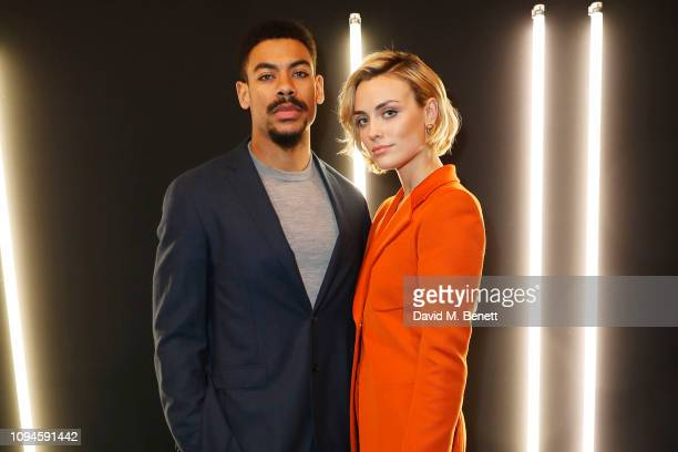 Aaron Pierre and Ellie Brown attend the dunhill Pre-BAFTA dinner at dunhill Bourdon House on February 6, 2019 in London, England.