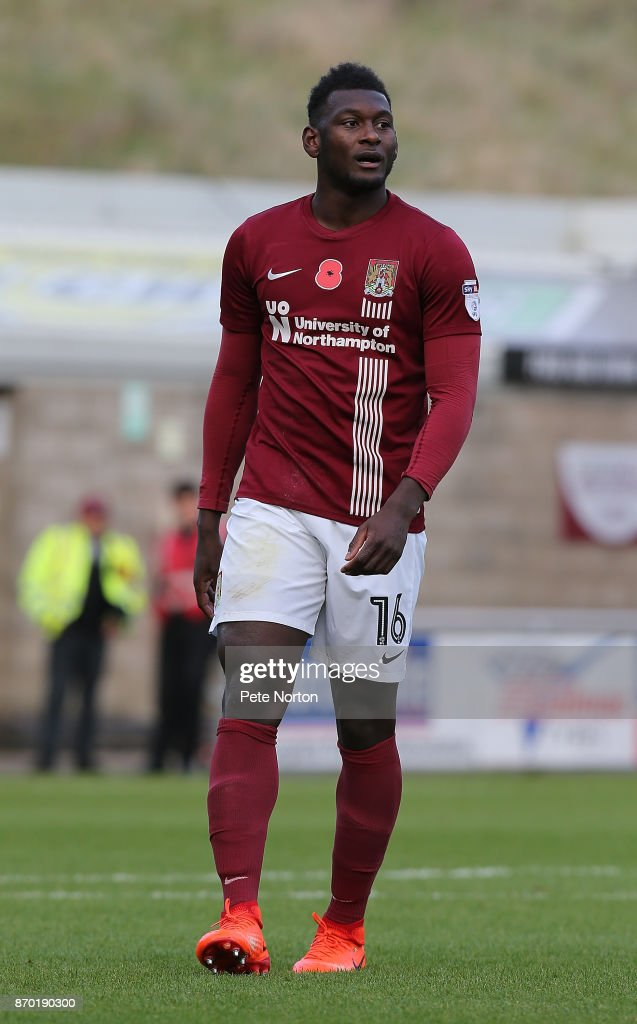 Aaron Pierre of Northampton Town in action during The Emirates FA Cup First Round match between Northampton Town and Scunthorpe United at Sixfields on November 4, 2017 in Northampton, England.