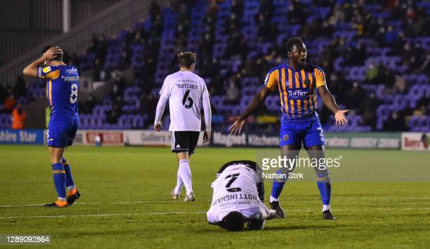 Aaron Pierre of Shrewsbury reacts after Michael Nottingham of Accrington Stanley is awarded a penalty during the Sky Bet League One match between...