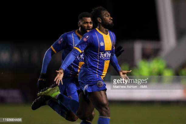 Aaron Pierre of Shrewsbury Town celebrates after scoring a goal to make it 10 during the FA Cup Third Round Replay match between Shrewsbury Town and...