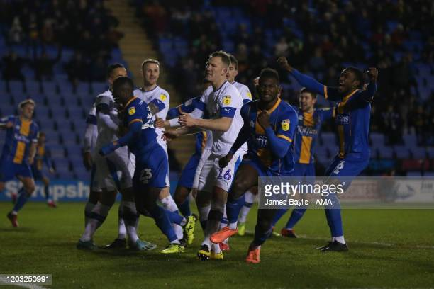 Aaron Pierre of Shrewsbury Town celebrates after scoring a goal to make it 12 during the Sky Bet League One match between Shrewsbury Town and...