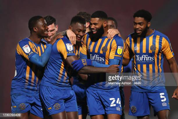 Aaron Pierre of Shrewsbury Town celebrates after scoring a goal to make it 0-1 during the Sky Bet League One match between Doncaster Rovers and...