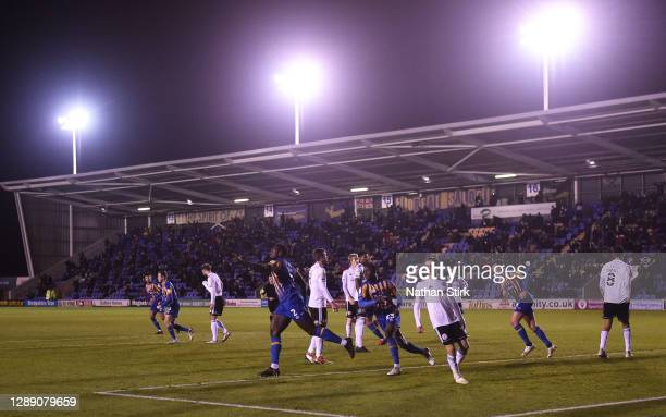 Aaron Pierre of Shrewsbury Town celebrates as he scores their team's first goal during the Sky Bet League One match between Shrewsbury Town and...